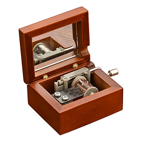 (YouTang Mini Size Creative Wooden 18-Note Hand-crankMusical Box,Musical Toys,Tune:Carrying You from Castle in The Sky )