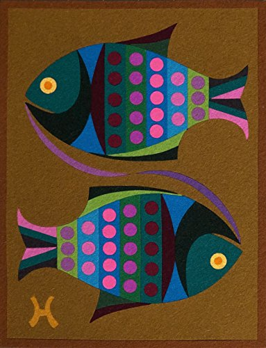 """PISCES,"" Spanish ""Encanto"" Tapestry, 7.5'' X 9.5"" Original Mid-Century Modern, c.1965, 100% Virgin Wool Felt, Mint Condition. ASTROLOGY SERIES. by Encanto Tapestries"