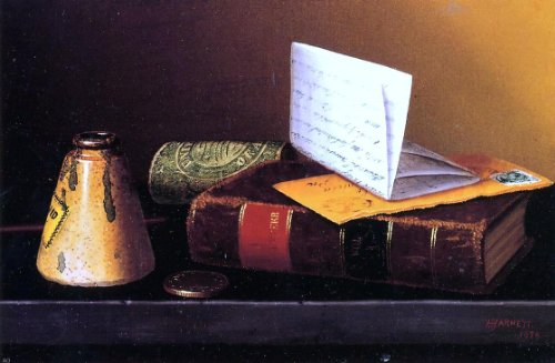 (Art Oyster William Michael Harnett Still Life with Ink Bottle Book and Letter (Also Known as Still Life with Universal Gazetteer) - 18.05