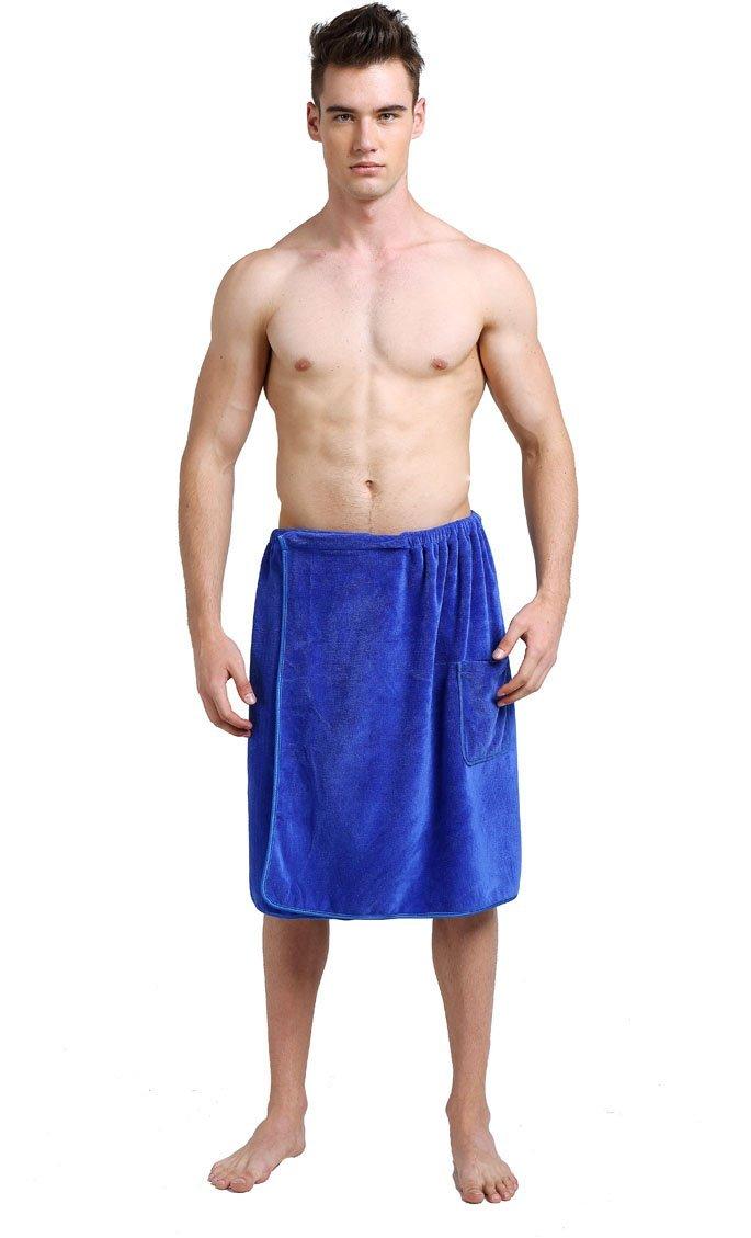blueeee, United States   Sinland Microfiber Men's Wrap Towel Bath Towel with Snap Closure