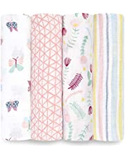 Aden by aden + Anais Swaddle Baby Blanket, 100% Cotton Muslin, 4 Pack