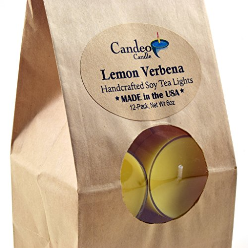 Lemon Verbena, Scented Soy Tealights, 12 Pack Clear Cup Candles