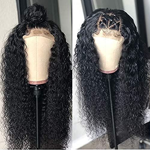 Deep Curly Wave Human Hair 360Lace Frontal Synthetic Wig Women Human Black