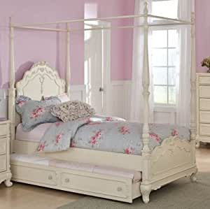Homelegance Cinderella 2 Piece Canopy Poster Bedroom Set In Antique White