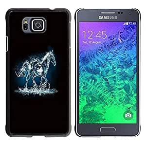 All Phone Most Case / Hard PC Metal piece Shell Slim Cover Protective Case for Samsung GALAXY ALPHA G850 Mustang Electric Horse Fire Water Black