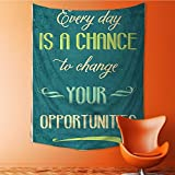 AmaPark Tapestry Wall Hanging Every Day is a Chance to Change Your Opportunities Poster Print Home Decorations for Bedroom Dorm 40W x 60L Inch