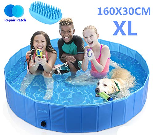 Pecute Dog Pool PVC Outdoor Pool Bathing Tub Portable Pet Playing Pool for Dogs Cats and Kids -(XL,Φ63 × H12 Inches)]()