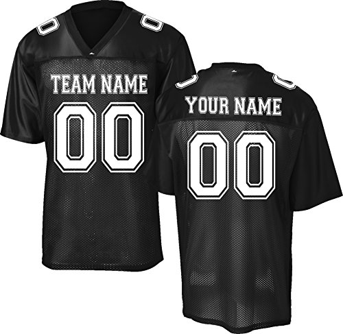 Nfl Mens Jerseys - Custom Replica/Practice Football Jersey (Unisex, Youth/Adult) - Add Your Team, Name, and Number Black