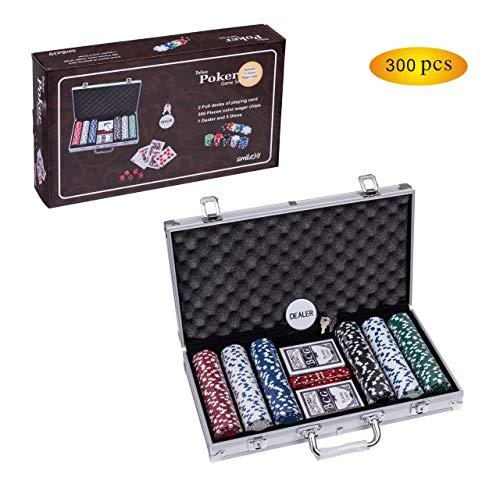 Smilejoy 300PCS Casino Poker Chips Set,11.5 Gram for Texas Holdem Blackjack Gambling with Aluminum Case -