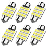 6pcs DE3175 led bulb, DE3021 DE3022 31mm Festoon Led Bulb for Car Interior License Plate Dome Map Door Courtesy Lights, Color White