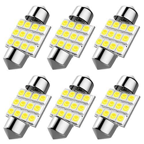 6pcs DE3175 led bulb, DE3021 DE3022 31mm Festoon Led Bulb for Car Interior License Plate Dome Map Door Courtesy Lights, Color White ()