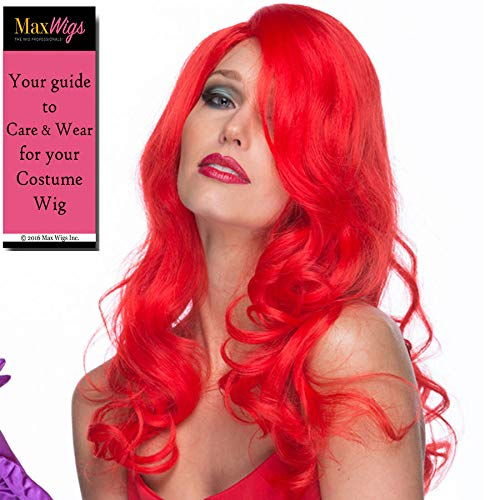 Jessica Rabbit Color Red - Sepia Wigs Sexy Sultry Cartoon Wife RedHead Synthetic Cosplay Halloween Poison Showgirl Ivy Bundle MaxWigs Hairloss -