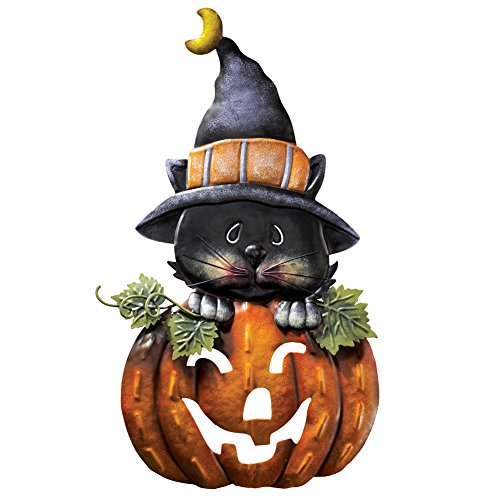 Collections Etc Pumpkin & Kitty Metal Halloween Door Decoration for $<!--$9.99-->