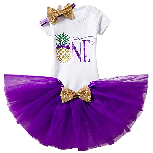 Baby Girls 1st Birthday Outfit Pineapple ONE Romper Short Sleeve Bodysuit + Ruffle Tulle Skirt + Sequin Bow Headband Summer Party Dress up Costume 4pcs Photo Shoot Cake Smash Clothes Set Purple 1 Year]()