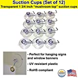 All Purpose 1-3/4-Inch Suction Cups with Hooks - Made in USA (12)