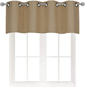 Home Queen Grommet Top Blackout Curtain Valance Window Treatment for Living Room, Short Straight Drape Valance, Set of 1, 54 X 18 Inch, Light Taupe (Tan)