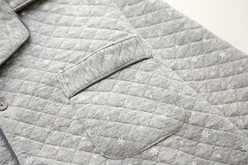 パジャマ メンズ 長袖 秋冬 ルームウェア 上下セット 厚手 前開き ロングパンツ 部屋着 暖かい 保温 防寒 綿100% 寝巻き 寝間着 雪の花柄 きれいめ ナイトウェア 男性用