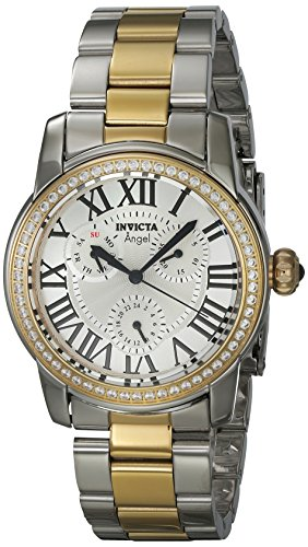 Invicta Women's Angel Gold-Tone Steel Bracelet & Case Quartz Silver-Tone Dial Analog Watch 21707