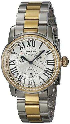 Invicta Women's Angel Gold-Tone Steel Bracelet & Case Quartz Silver-Tone Dial Analog Watch 21707
