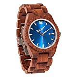 Wilds Wood Watches for Men - with Date Display - Minimalist Collection Analog Wooden Wrist Watch with Premium Japanese Quartz Movement - Lightweight, Stylish, Durable - Men Gift Ideas