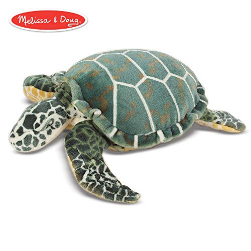 Melissa & Doug Sea Turtle Giant Stuffed Animal (Wildlife, Soft Polyester Fabric, Beautiful Sea Turtle Markings, 24″ H × 22″ W × 7.9″ L)]()