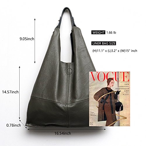 Shopping Hobo Large Bucket Women's Handbag Bag Leather Vintage Cellphone Liner Genuine Zipper Bag Bags Shoulder Bag Inside Casual Ladies Soft Tote Stephiecathy Snap Slouch Green with pAwFT