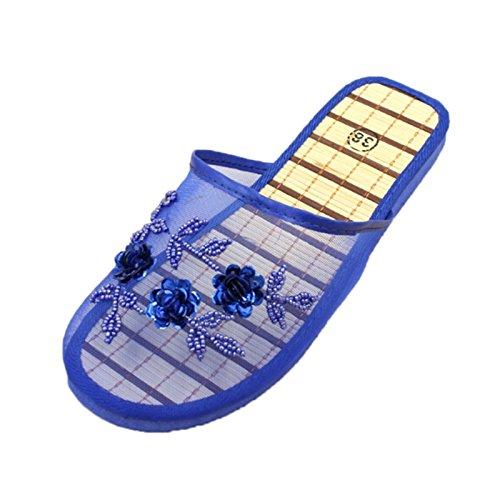 JAGENIE Women Floral Beaded Sequin Embellishment Mesh Slippers Flip Flop Sandals 7Colors Royal Blue 40