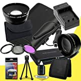Canon EOS 70D DSLR Camera with 18-55mm STM f/3.5-5.6 Lens LP-E6 Lithium Ion Replacement Battery and External Rapid Charger + 58mm 3 Piece Filter Kit + 58mm 2x Telephoto Lens + 58mm Wide Angle Lens + Multi Card USB Reader + Memory Card Wallet + Deluxe Star