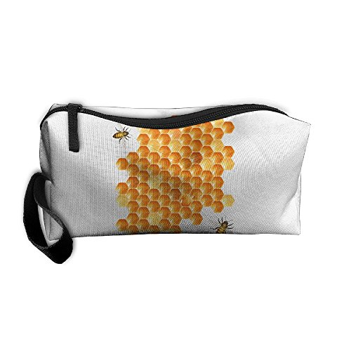 Bee Hive And Honey Cosmetic Bags Brush Pouch Makeup Bag Zipper Wallet Hangbag Pen Organizer Carry Case Wristlet Holder -