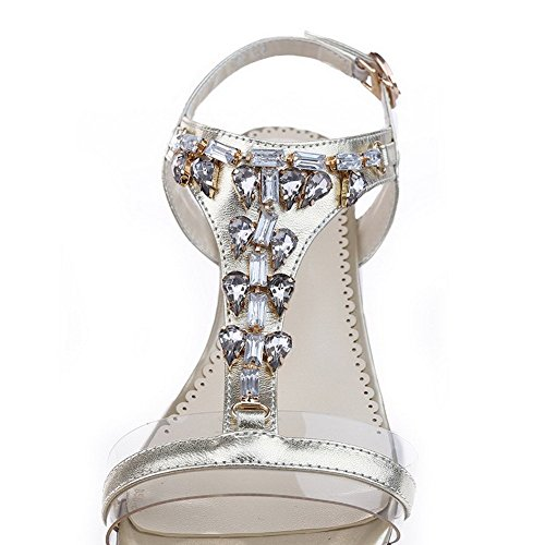 AllhqFashion Women's Blend Materials Solid Buckle Open Toe Low Heels Sandals Silver 9S6zOlBK