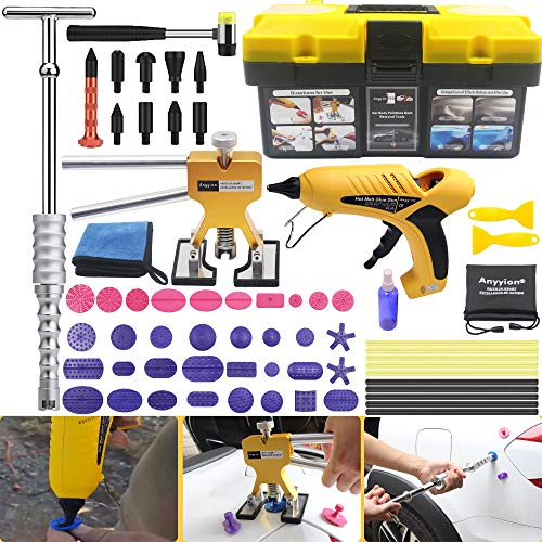 Anyyion Paintless Dent Repair Kits - 64pcs Car Body Paintless Dent Repair Tools -Auto Dent Puller Kit Automotive Door Ding Dent Silde Hammer Glue Puller Repair Starter Set Kits for Car Hail Damage