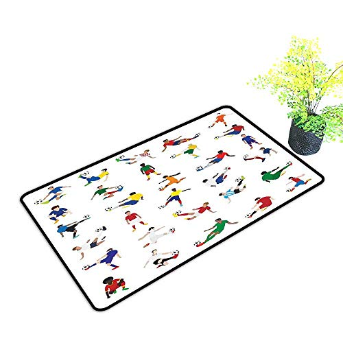 Washable Doormat Sports Decor Collection of Soccer Players League Pastime Practicing Different Poses W31 xL47 Easy to Clean