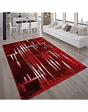 Designervloerkleed Modern Trendy Laagpolig Vloerkleed In Rood/Crème/Gemêleerd, Maat:160x220 cm