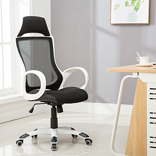 Sunmae High Back Mesh Office Chair, Ergonomic Executive Chair, Adjustable Computer Desk Swivel Chair - Black & White - Back Executive Office Chair