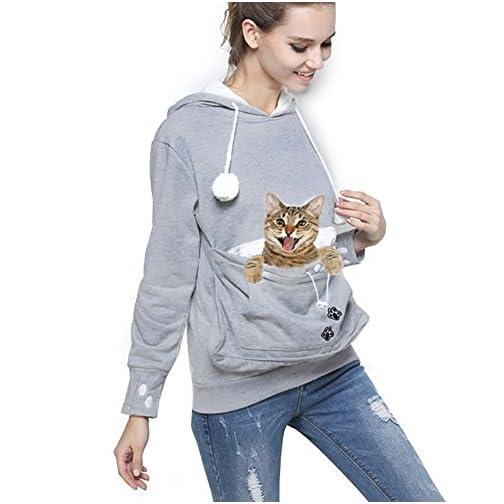Womens Pet Carrier Shirts Kitten Puppy Holder Sweatshirt Animal Pouch Hood Tops 3