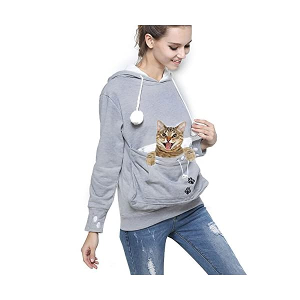 Womens-Pet-Carrier-Shirts-Kitten-Puppy-Holder-Sweatshirt-Animal-Pouch-Hood-Tops