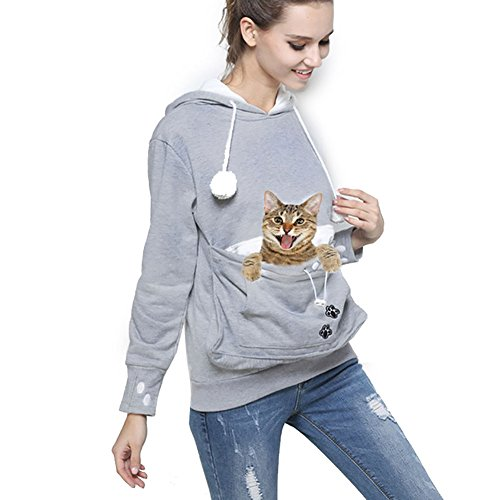 Womens Pet Carrier Shirts Kitten Puppy Holder Sweatshirt Animal Pouch Hood Tops Grey -