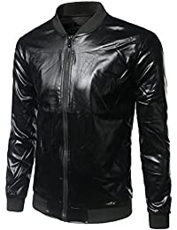 Zeroyaa Mens Unisex Metallic Shiny Slim Zip Up Bomber Baseball Varsity Jacket