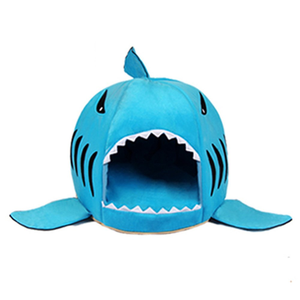 bluee Medium bluee Medium Washable Puppy pet Bed Removable and Washable Cartoon Shark Nest Cat Litter Pet Sleeping Bag Kennel Four Seasons General Anti-Slip Anti-bite (color   bluee, Size   M)