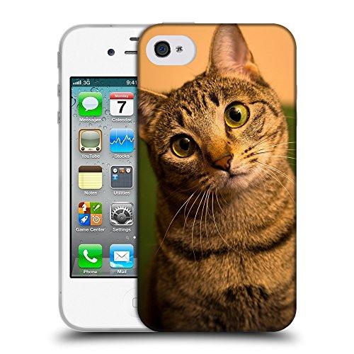 Just Phone Cases Coque de Protection TPU Silicone Case pour // V00004242 Curieux chat domestique // Apple iPhone 4 4S 4G