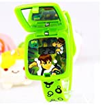 green Ben 10 Watch Square mirror flip children kids cartoon Watches WP@MYA163693Q