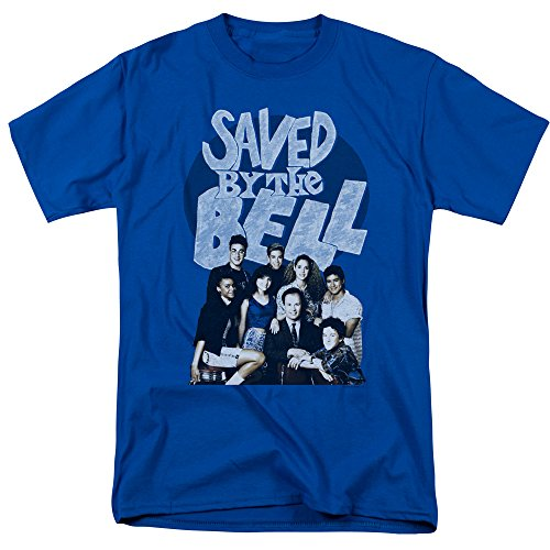 Trevco Men's Saved by The Bell Short Sleeve T-Shirt, Retro Royal Blue, XX-Large (Screech Saved By The Bell)