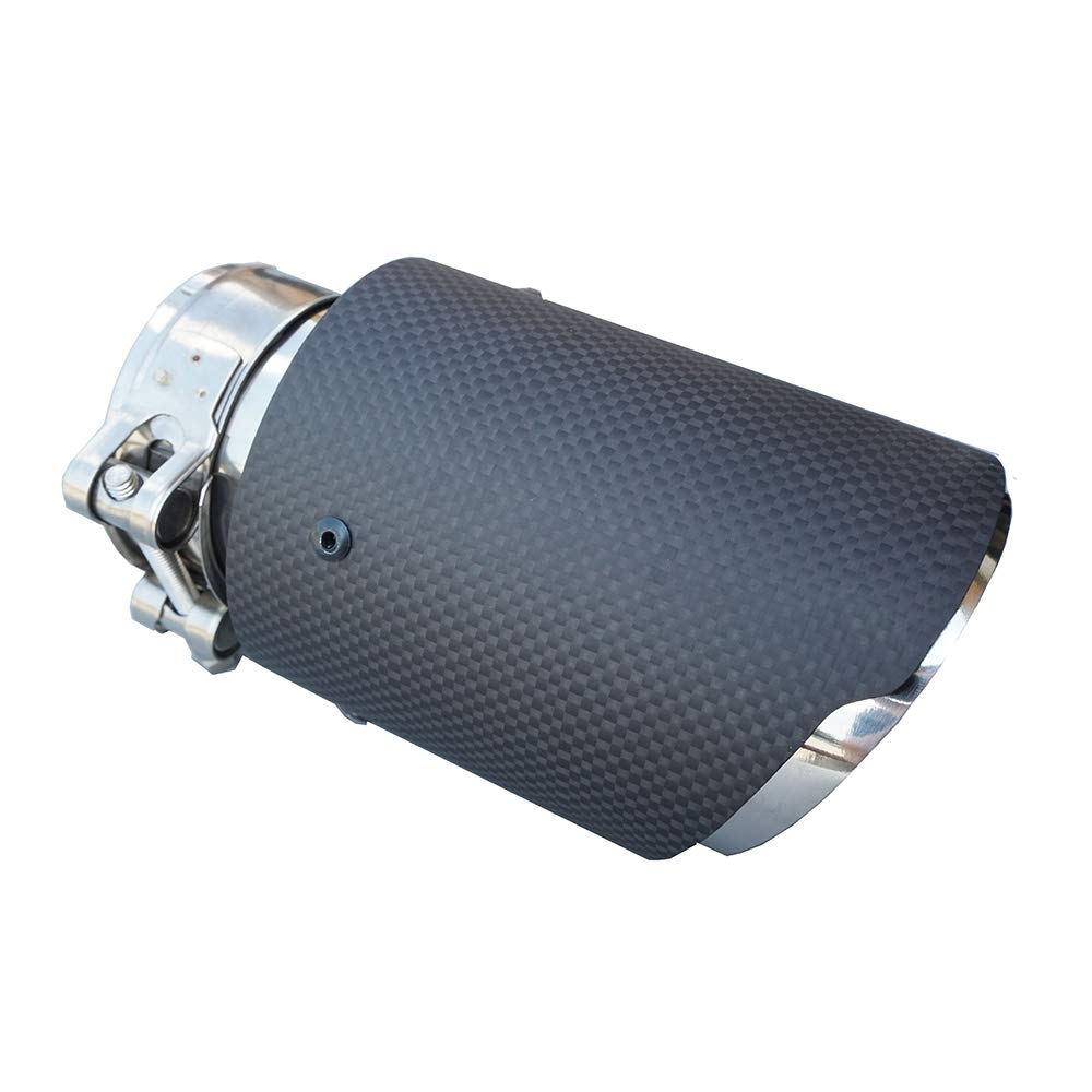 Inlet 54//57//60//63mm Outlet 89mm 3.5 Outlet matte Carbon Fiber Exhaust Pipe Muffler Tips-straight edge Inlet 60mm Outlet 89mm