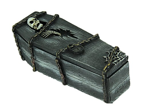 World Of Wonders Resin Decorative Boxes Stash The Dead Chained Skeleton Coffin Trinket Box 6.75 X 2 X 2.5 Inches Gray]()