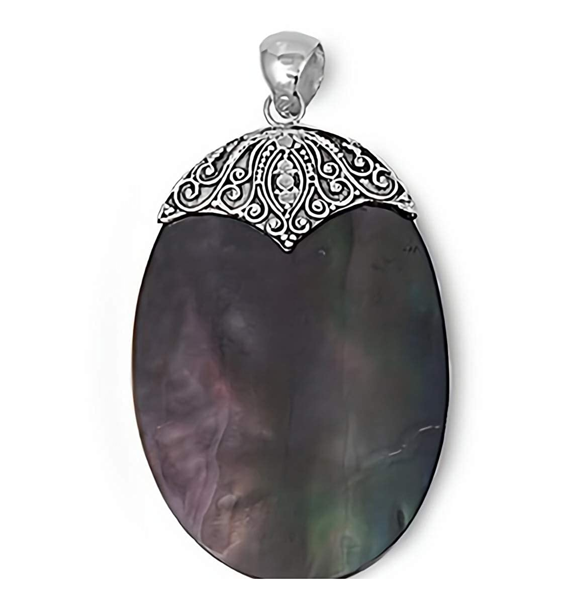 Glitzs Jewels 925 Sterling Silver Pendant with Stone in Gift Box Simulated Abalone