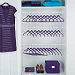 JOY Mangano 100 piece Huggable Hangers Set Purple Orchid with Brass