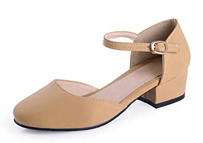 4eeca2d2478 Aisun Women s Comfort Closed Toe Dress Buckle Chunky Low Heels Sandals  Shoes Ankle Straps Apricot 4