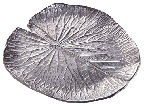 Red Co. Luxurious Aluminum Lotus Leaf Tray, Decorative Centerpiece Dish, (Silver Leaf Tray)