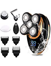 Electric Shaver Razor for Men, Morease 4-in-1 Head Shaver Rechargeable Wet Dry Rotary Shaver Beard Trimmer Nose Hair Trimmer with 5 Razor Head Cordless Grooming Kit Head Razor for Perfect Bald Look