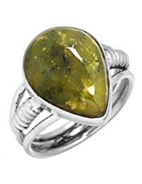 Natural Lizardite (Meditation Stone) Gemstone Fashion Jewelry Solid 925 Sterling Silver Ring Size 7